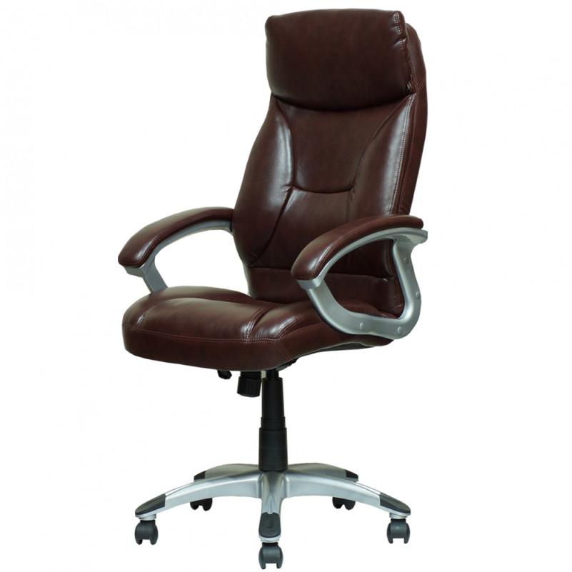 Кресло Barneo K-4 для руководителя коричневая кожа