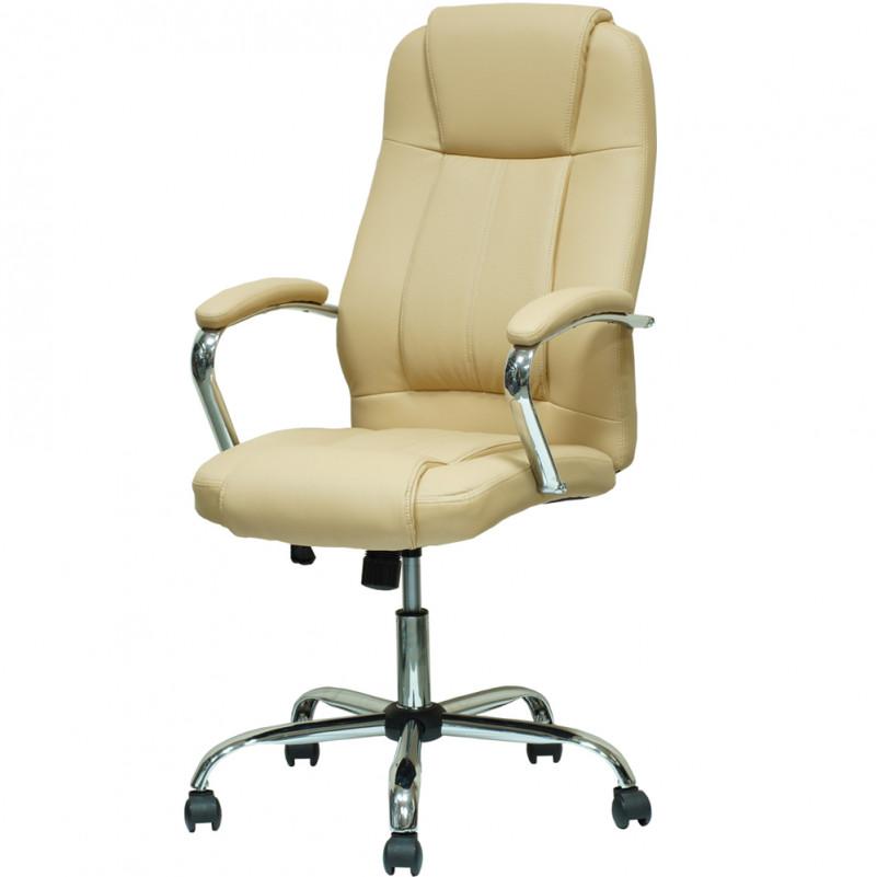 Кресло Barneo K-1 для руководителя бежевая кожа