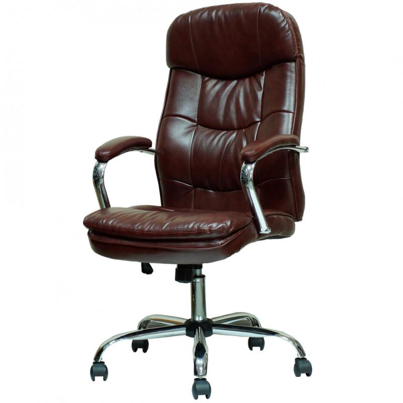 Кресло Barneo K-2 для руководителя коричневая кожа