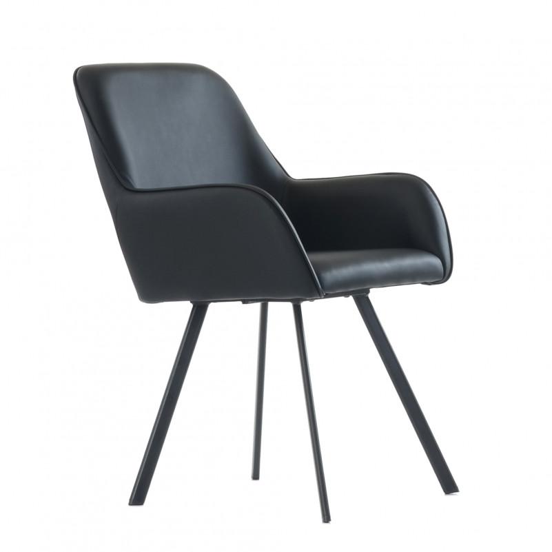 Кресло Barneo K-21 / каркас #1 - PU черная кожа