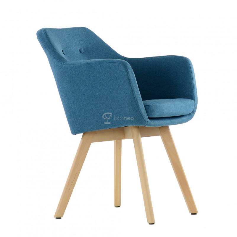 Кресло Barneo K-100 каркас дерево - FB синяя ткань