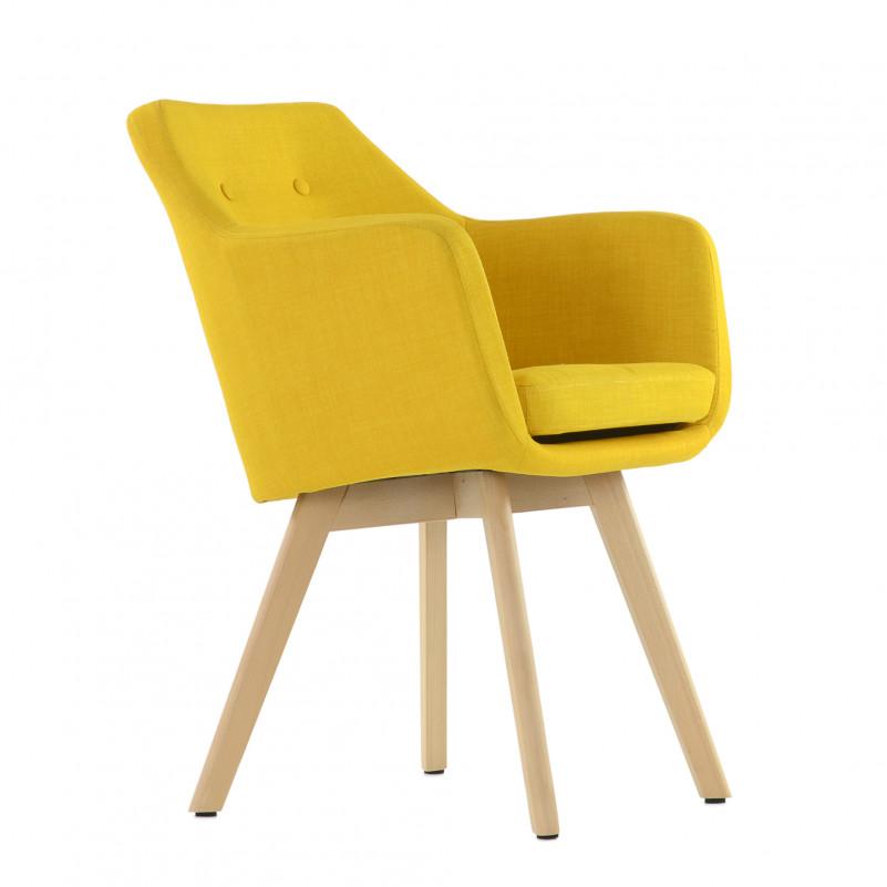 Кресло Barneo K-100 каркас дерево - FB желтая ткань
