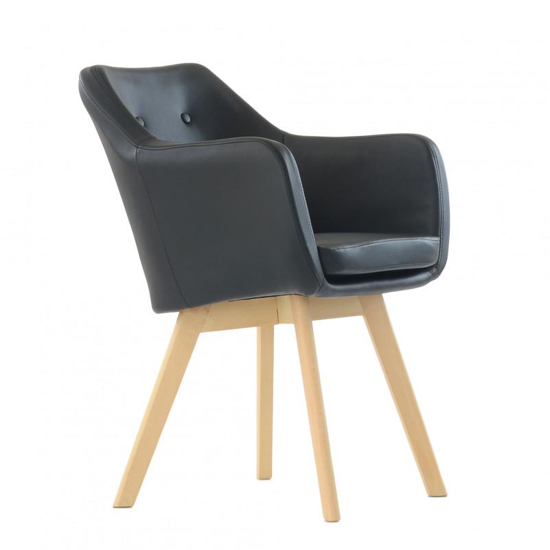 Кресло Barneo K-100 каркас дерево - PU черная кожа