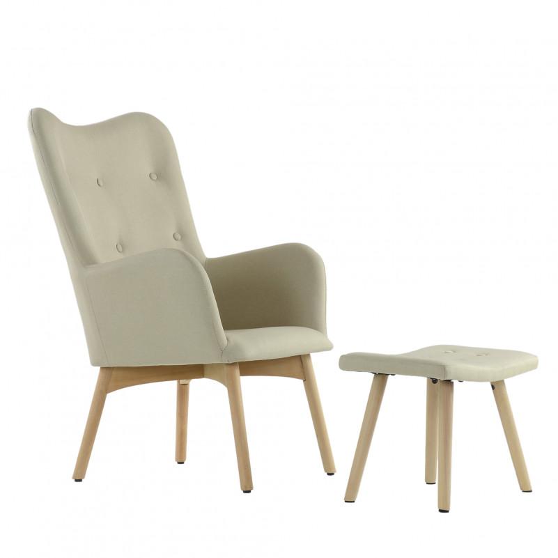 Кресло Barneo K-101 каркас дерево с оттоманкой  - FB бежевая ткань