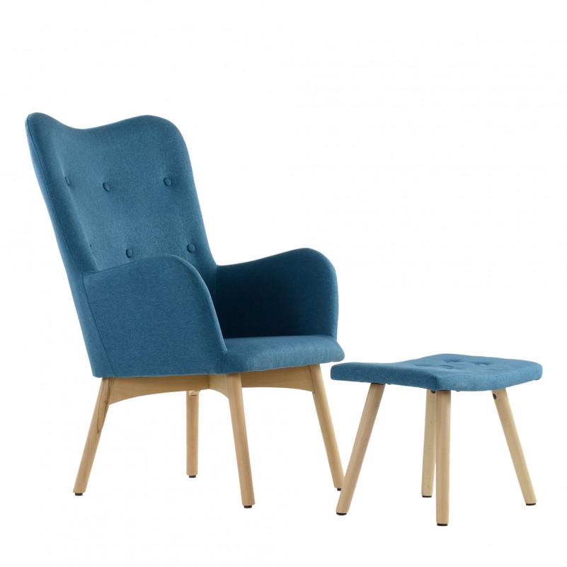 Кресло Barneo K-101 каркас дерево с оттоманкой  - FB синяя ткань