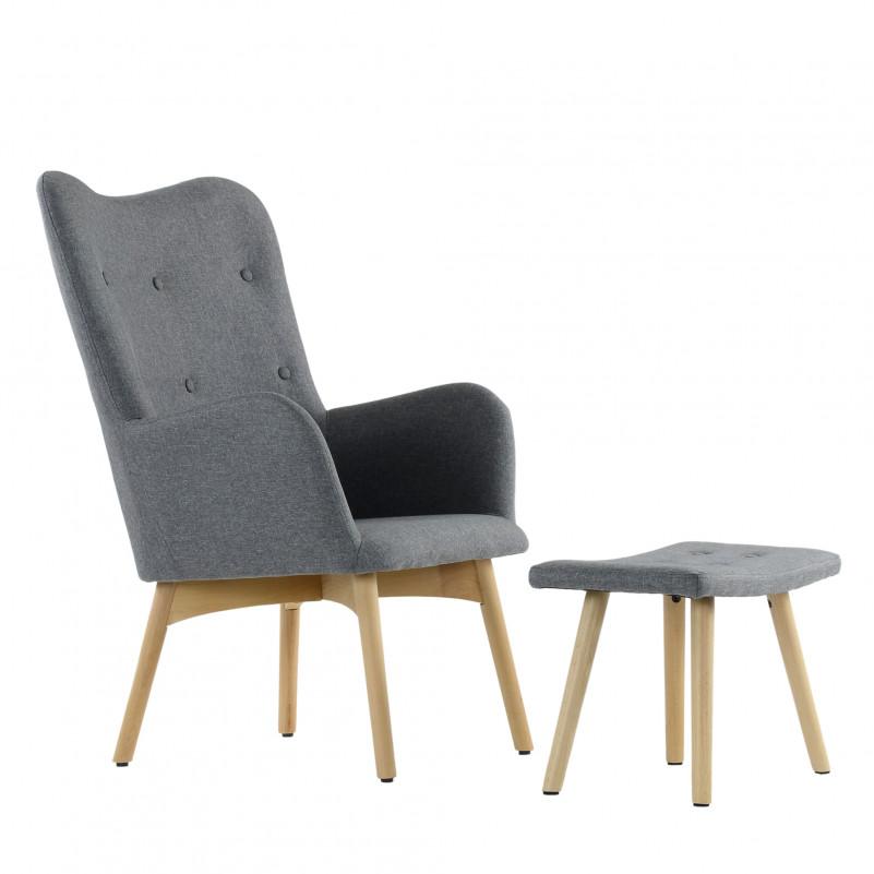 Кресло Barneo K-101 каркас дерево с оттоманкой  - FB серая ткань
