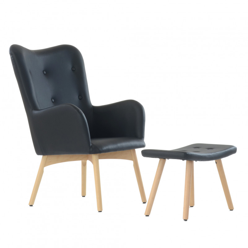 Кресло Barneo K-101 каркас дерево с оттоманкой  - PU черная кожа