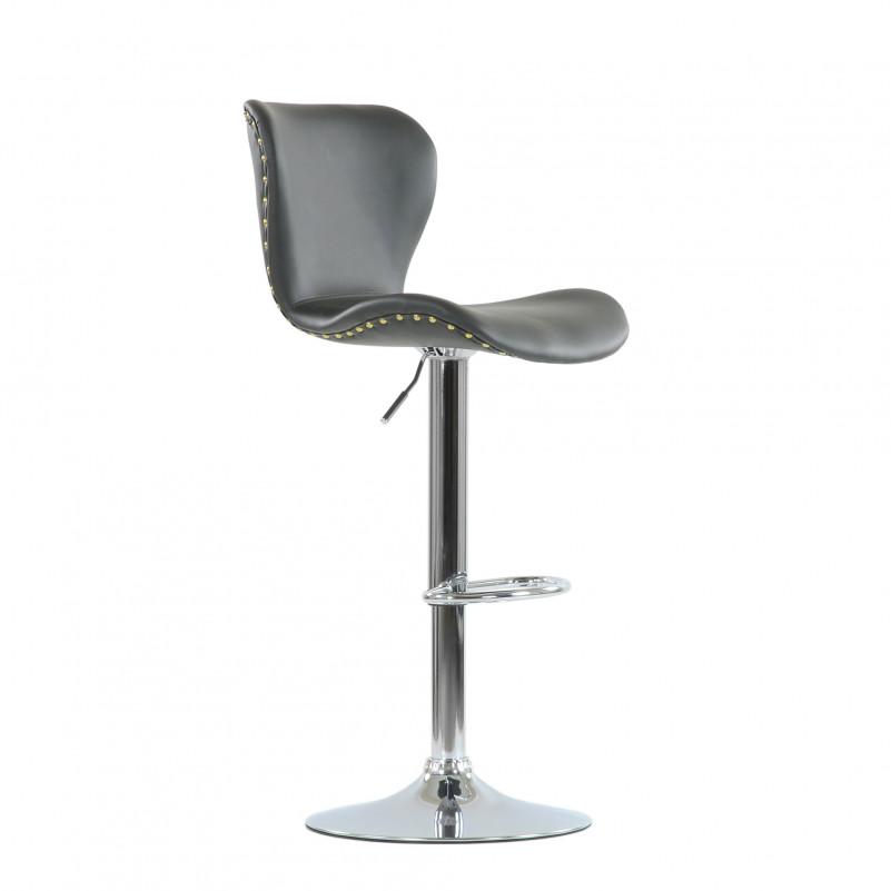 Барный стул Barneo N-87 Over / Black Vintage - PU серая кожа