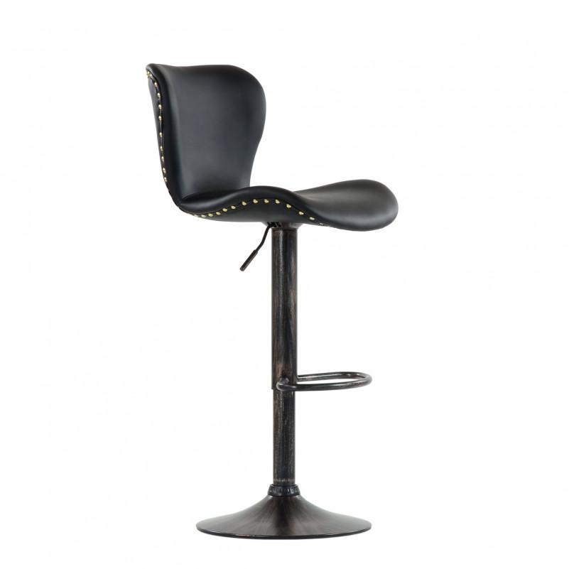 Барный стул Barneo N-87 Over / Chrome - PU черная кожа