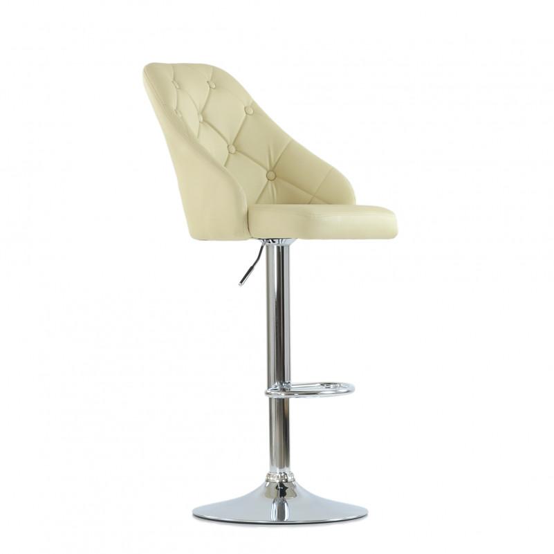 Барный стул Barneo N-94 Онлайн/ Chrome - PU бежевая кожа