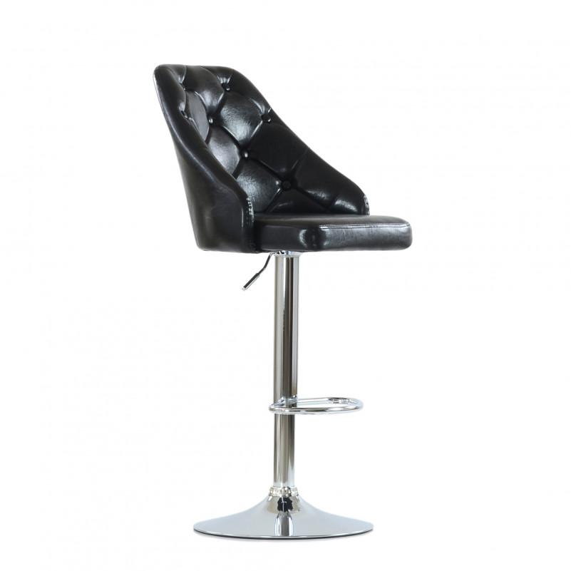 Барный стул Barneo N-94 Онлайн/ Chrome - PU черный глянец