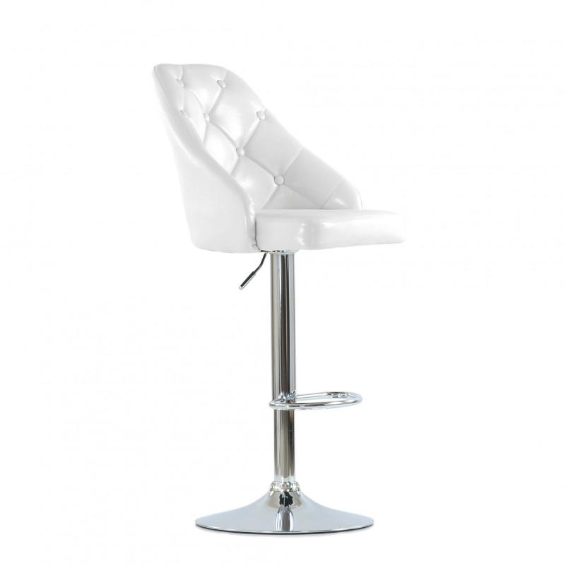 Барный стул Barneo N-94 Онлайн/ Chrome - PU белый глянец