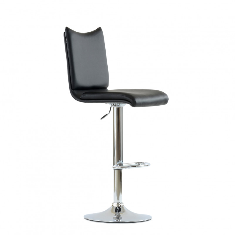Барный стул Barneo N-99 / Chrome - PU черная кожа