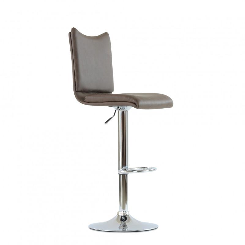Барный стул Barneo N-99 / Chrome - PU коричневая кожа