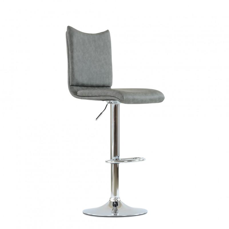 Барный стул Barneo N-99 / Chrome - PU серая кожа