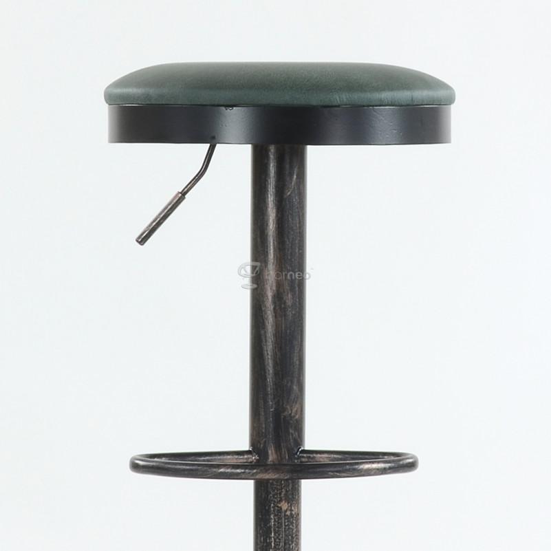 Барный стул Barneo N-129 Green / Black Vintage - FPU серая кожа 510-24C