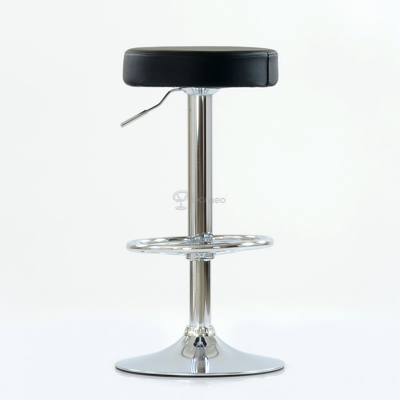 Барный стул Barneo N-130 Круглый / Chrome - PU черная кожа
