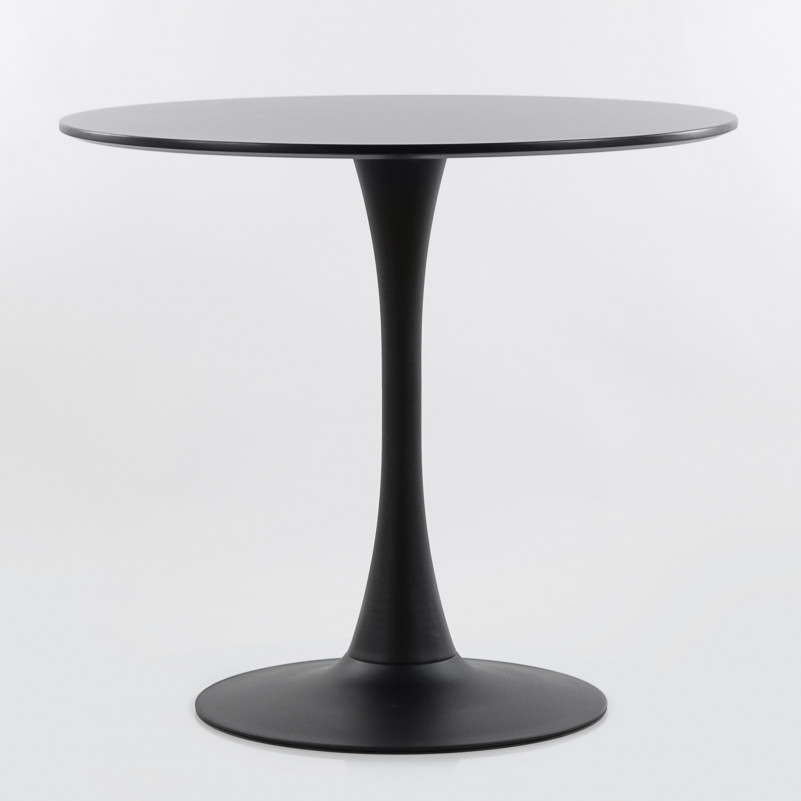 Стол Barneo T-3 Tulip style, MDF, H-75cm - круг диаметр 80см, RAL9017 черный, каркас RAL9017 черный