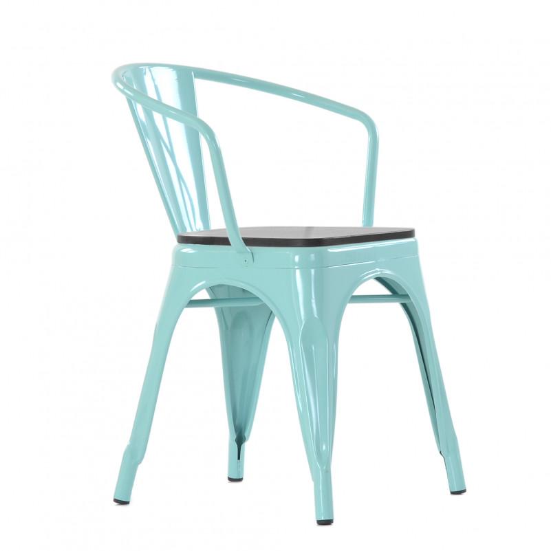Кресло Barneo N-245 Tolix style Wood цвет по RAL - металлический каркас со шпонированным сиденьем