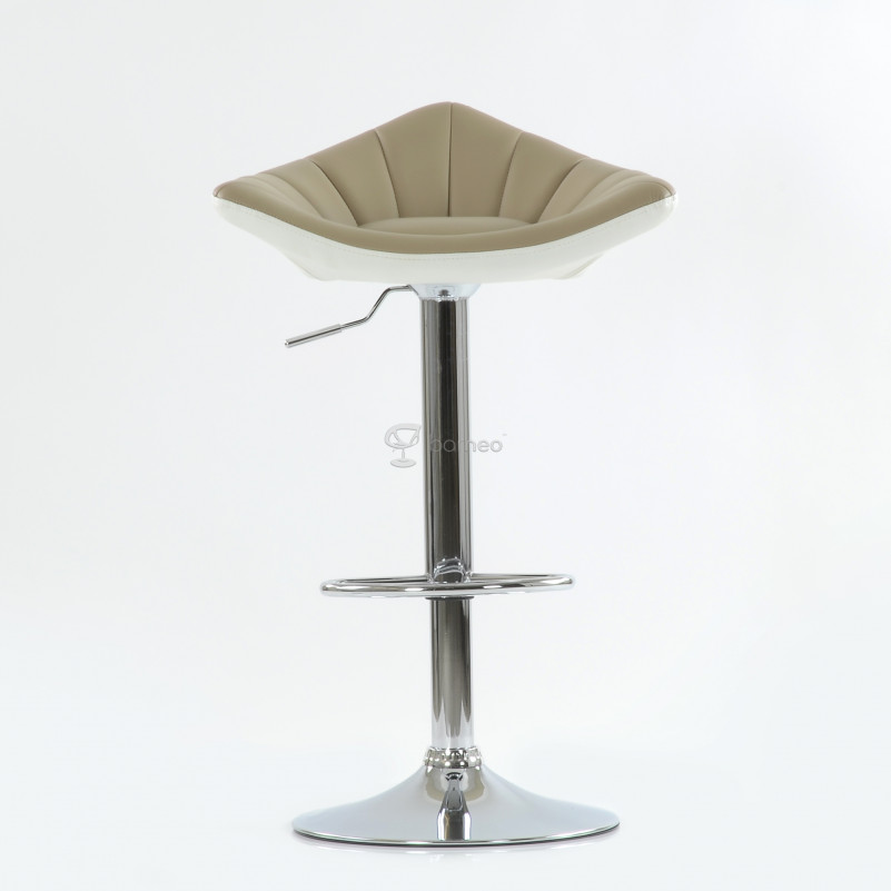 Барный стул Barneo N-44 Дана / Chrome  - PU светл.коричн-белая кожа