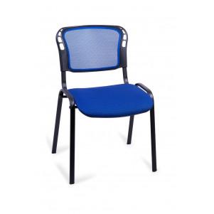 Стул для посетителей Изо черный, сетка синяя, ткань синий ромб В-10